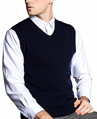 Merino Wool Sweater Vest - Nidicus Men's Classic Douglas Solid Color Merino Wool V-Neck Sweater Vest Navy Blue L