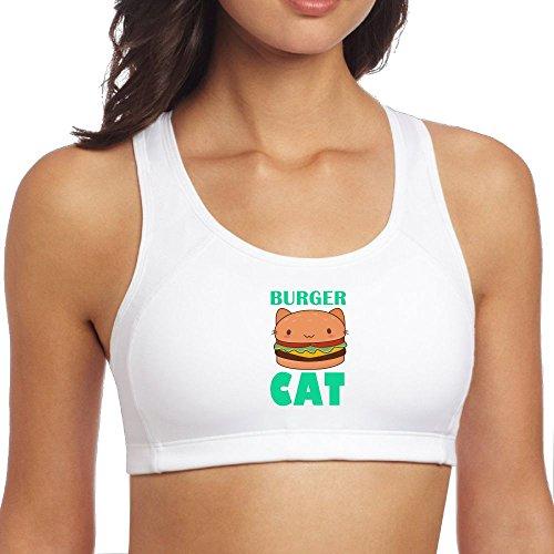 Jidfnjg Burger Cat Women's Sports Bra Respiratory Support