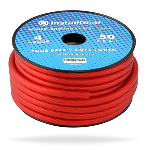 InstallGear 4 Gauge Red 50ft Power/Ground Wire True Spec and Soft Touch Cable on Spool