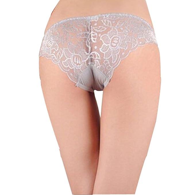 1 x gris para mujer encantadora de punta hueca de ropa interior para mujer para hombre
