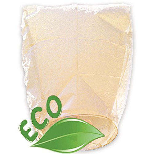 (Just Artifacts ECO Wire-Free Flying Chinese Sky Lanterns (Set of 10, Eclipse, Ivory) - 100% Biodegradable, Environmentally Friendly Lanterns! )