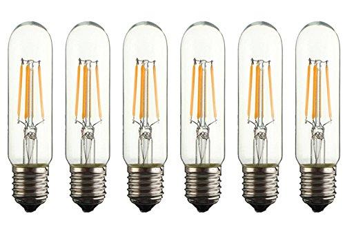 Bulbright 6PACK LED Filament Bulb Tubular Light Bulb T10 4W, E26 Base, Clear Warm White 2700K, LED Edison Bulb 40W Equivalent, 110-120VAC, Dimmable (4) -