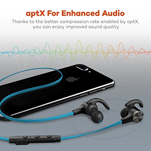 Large Product Image of Bluetooth Headphones TaoTronics Wireless 4.2 Magnetic Earbuds Snug Fit for Sports with Built in Mic TT-BH07 (IPX6 Waterproof aptX Stereo 6-8 Hours Playtime) Blue