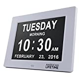 [Newest Version] Day Clock - Extra Large Impaired Vision Digital Clock with 5 Alarm Options & Battery Backup - Choose From 4 Different Colors!