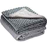 5 lbs Weighted Blanket with Dot Minky Cover for Kids (Inner Light Gray/Cover Gray & Light Gray, 36'x48' 5 lbs)