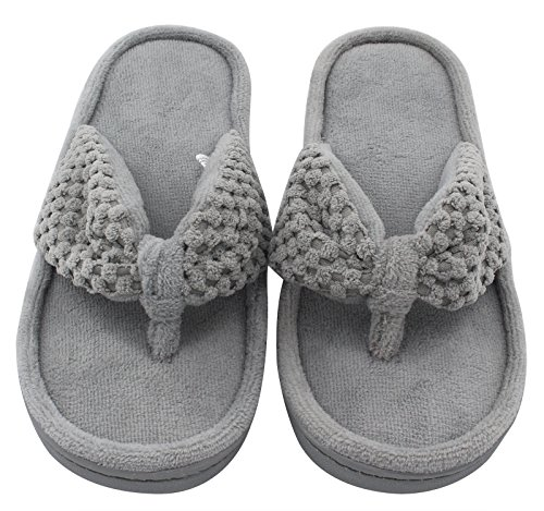 Pictures of Women's Cozy Memory Foam Plush Gridding Velvet Lining Spa Thong Flip Flops Clog Style House Indoor Slippers (Large / 9-10 B(M) US, Gray) 8