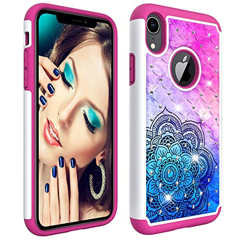 iPhone XR 6.1 Case, Dooge Bling Sparkly Diamond Case Dual Layer Full Body Armor Defender Anti-Scratch Shockproof Protective Rugged Holster Case for iPhone XR 6.1 inch