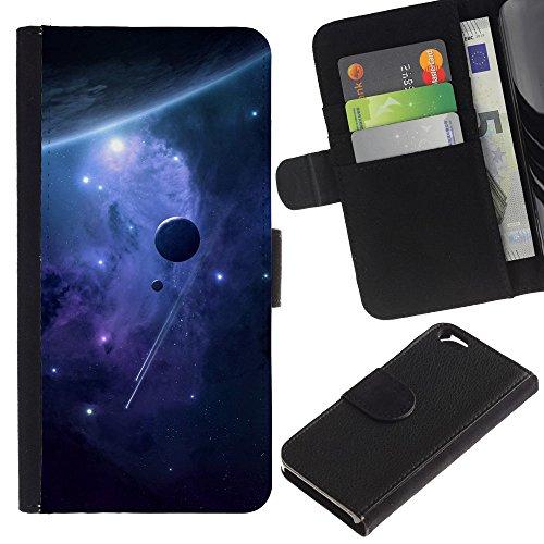 Funny Phone Case // Cuir Portefeuille Housse de protection Étui Leather Wallet Protective Case pour Apple Iphone 6 /Espace Planètes/