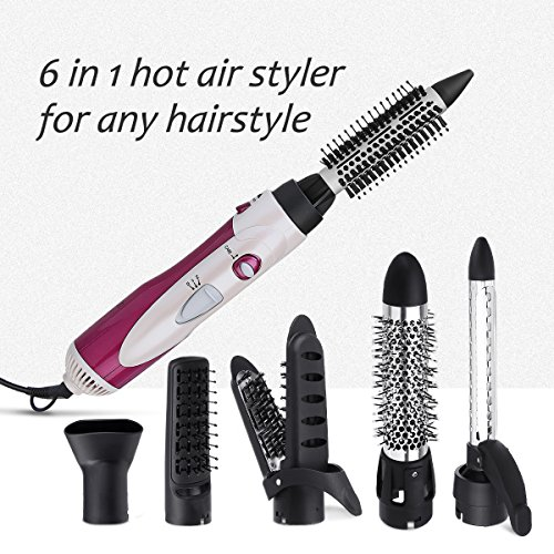 Straighten Hair Blow Dryer - Y.F.M Hair Curler 6 in 1 Multi functional Roller, Hairdressing Straightener, Electric Hair Dryer, Curling Iron, Styling Hot Air Kit Hair Styling Brush Sets, Gift for Women
