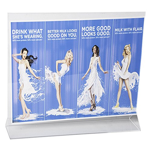 Clear-Ad - LHB-1185 - Double Sided Acrylic Upright Sign Holder 11x8.5 - Table Menu Card Display Stand - Plastic Picture Frame in Bulk (Pack of - Glare Anti Frame