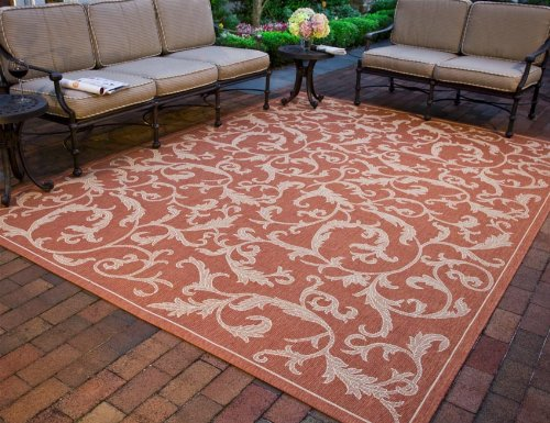 Safavieh Courtyard Collection CY2653-3202 Terracotta and Natural Indoor/ Outdoor Area Rug (5'3