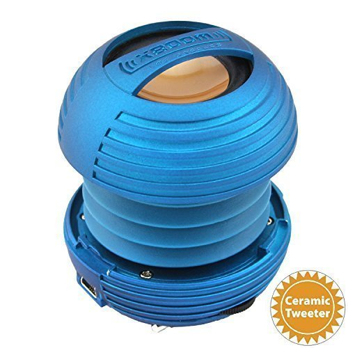 XBOOM Ceramic Mini Portable Capsule Speaker with Rechargeable Battery, Enhanced Bass+ (Blue)