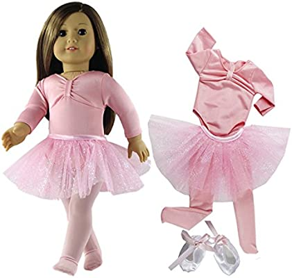 a2ad4aaf00f4 Amazon.com  HongShun 4 PCS Doll Clothes Pink Ballet Tutu Dress+Shoes ...