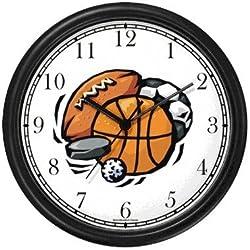 Basketball, Baseball, Football, Soccer Ball, Golf Ball, Puck Wall Clock by WatchBuddy Timepieces (Black Frame)
