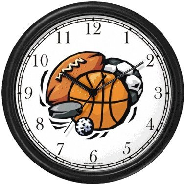 - Basketball, Baseball, Football, Soccer Ball, Golf Ball, Puck Wall Clock by WatchBuddy Timepieces (Black Frame)