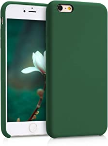 kwmobile TPU Silicone Case Compatible with Apple iPhone 6 Plus / 6S Plus - Slim Protective Phone Cover with Soft Finish - Dark Green