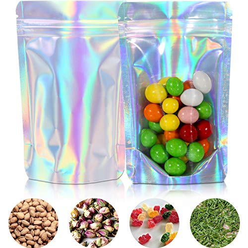 100 Pieces Zip Lock Bags Reusable Aluminum Foil Bags Food Storing Waterproof Smell Proof Bags Stand Up Bags Hologram Rainbow Gift Bag