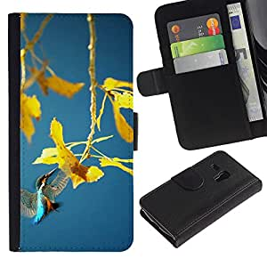 KingStore / Leather Etui en cuir / Samsung Galaxy S3 MINI 8190 / Planta de la primavera