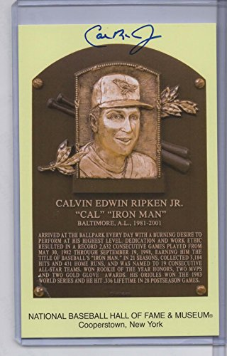- CAL RIPKEN, JR. AUTOGRAPHED HALL OF FAME GOLD PLAQUE CARD - BALTIMORE ORIOLES - JSA