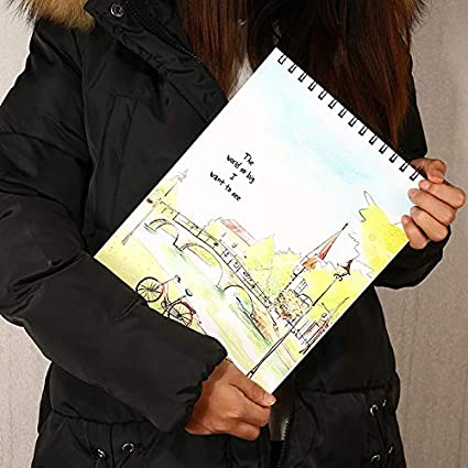 carta cartuccia scrapbook 40/fogli 80/pagine per disegno e materiale scolastico senza acidi 29 * 21cm E a spirale A4/riciclata formato A4 Oyfel