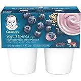 Gerber Purees Yogurt Blends, Blueberry, 4 Count