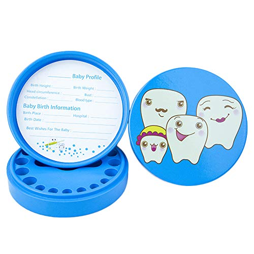Aiwer Cute Baby Teeth Keepsake Box Wooden Tooth Boxes, Child Kids Tooth Storage Holder Organizer Kids Lost Tooth Keeper Box (English),Blue