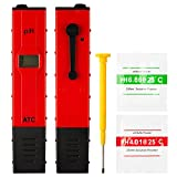 uxcell Digital pH Meter High Accuracy Household pH Tester for pH 0 - 14 Water Quality Test and ATC Add-on pH Balance Powder Pack of Extra 2 Sachets Red