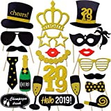 2019 New Years Photo Booth Props Kit(21Pcs), Konsait Funny New Years Eve Party Photo Booth with Stick for Adult Kids Women Man Party Accessories for 2019 New Year Party Decor Decoration Favor Supplies