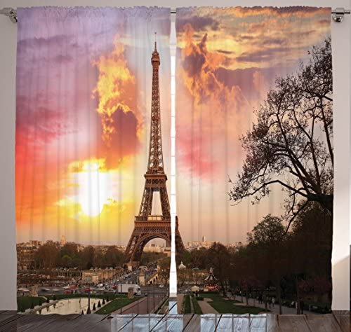 Ambesonne Paris Curtains