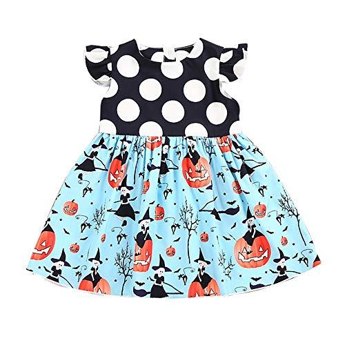 MOGOV Baby Girls Halloween Pumpkin Cartoon Wave Point Splicing Princess Dress Outfits Clothes Blue