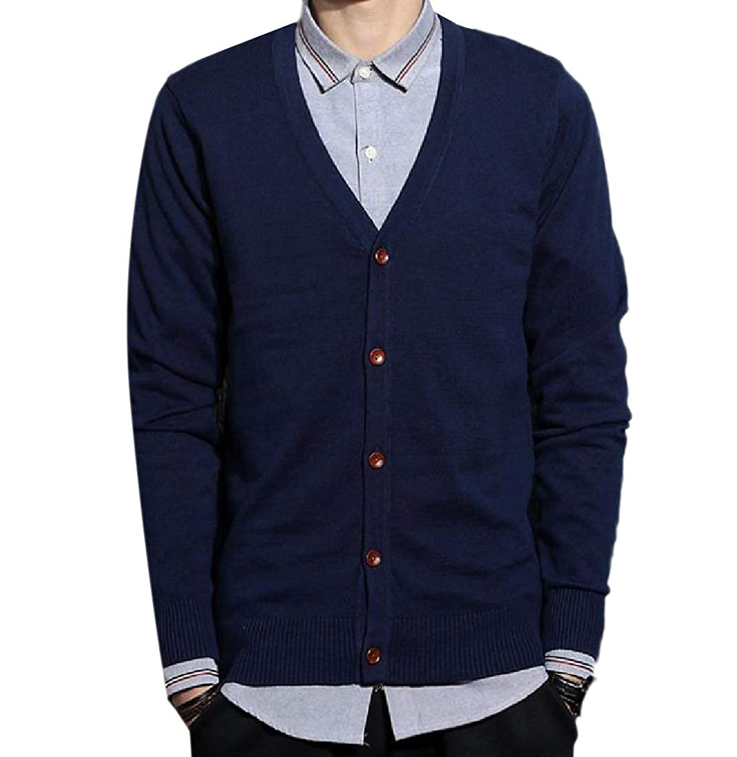 Zimaes-Men Casual Long-Sleeve Button Down V Neck Slim-Fit Knit Sweater