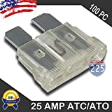 100 Pack 25 AMP ATC/ATO Standard Regular Fuse Blade 25A Car Truck Boat Marine RV