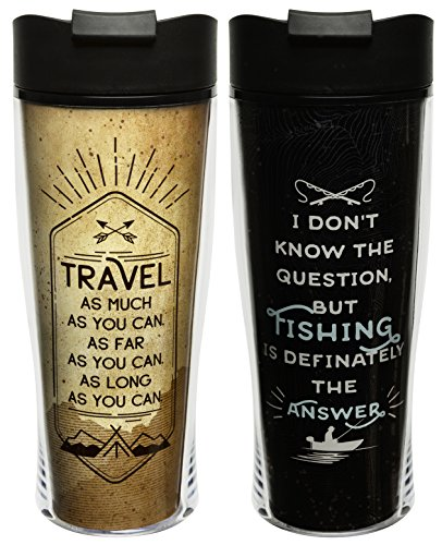 Zak Designs Adventurer 15 oz. Insulated Coffee Mugs, Travel & Fishing, 2 piece set (Fishing Travel Mug)