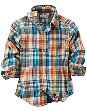 Carter's Baby Boys' Button-Front Shirt - Plaid