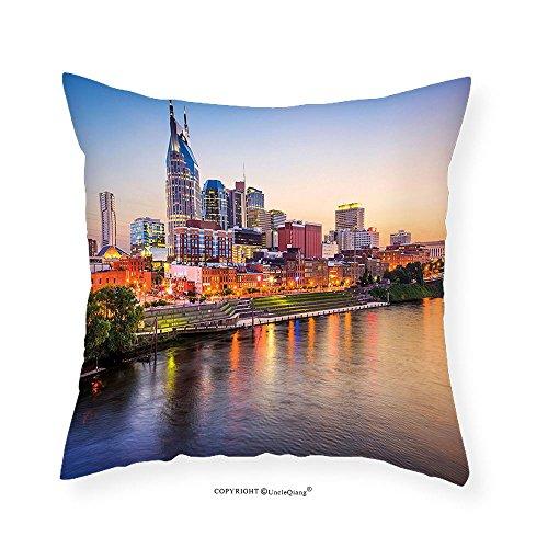 VROSELV Custom Cotton Linen Pillowcase United States Cumberland River Nashville Tennessee Evening Architecture Travel Destination for Bedroom Living Room Dorm Multicolor - Nashville Store Indian