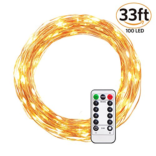 Ulwae String Light LED Warm White Dimmable, Battery Powered, 100 LED in 33 ft Copper Wire for Christmas, Birthday, Wedding Parties