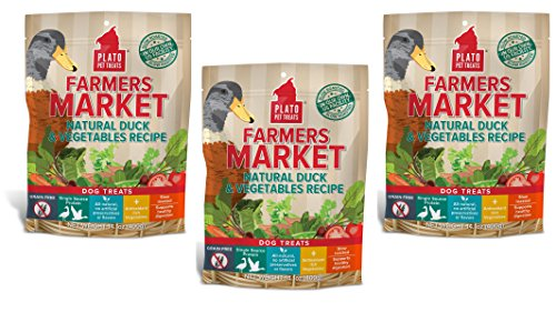 PLATO Dog Treats -Farmers Market Natural Duck and Vegatables Real Strips- 14 oz (3 Pack) ()