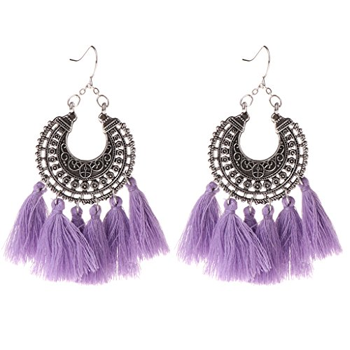 - Milue Tassel Earrings Long Drop Dangle Bohemia Vintage Jewelry Women 10 Color Fashion (Purple)