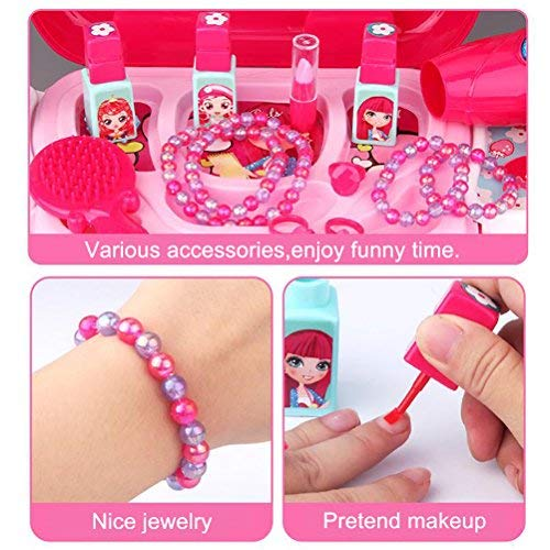 Role Play Jewelry Kit for Girls Toy Set Princess Suitcase Gift for Kids Children 3 Years Old by YIMORE (Image #4)