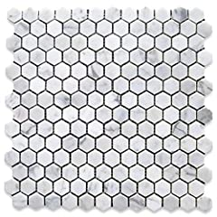 Premium Grade White Carrara Marble Hexagon Mosaic tiles. Italian Bianco Carrera White Venato Carrara Polished 1 inch Hex Mosaic Wall & Floor Tiles are perfect for any interior/exterior projects. The 1 inch Carrara White Marble Hexagon Mos...