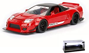 Diecast Car w/LED Display Case - 2002 Honda NSX Type-R Japan Spec Wide Body, Candy Apple Red - Jada 98555DP1 - 1/24 Scale Diecast Model Toy Car