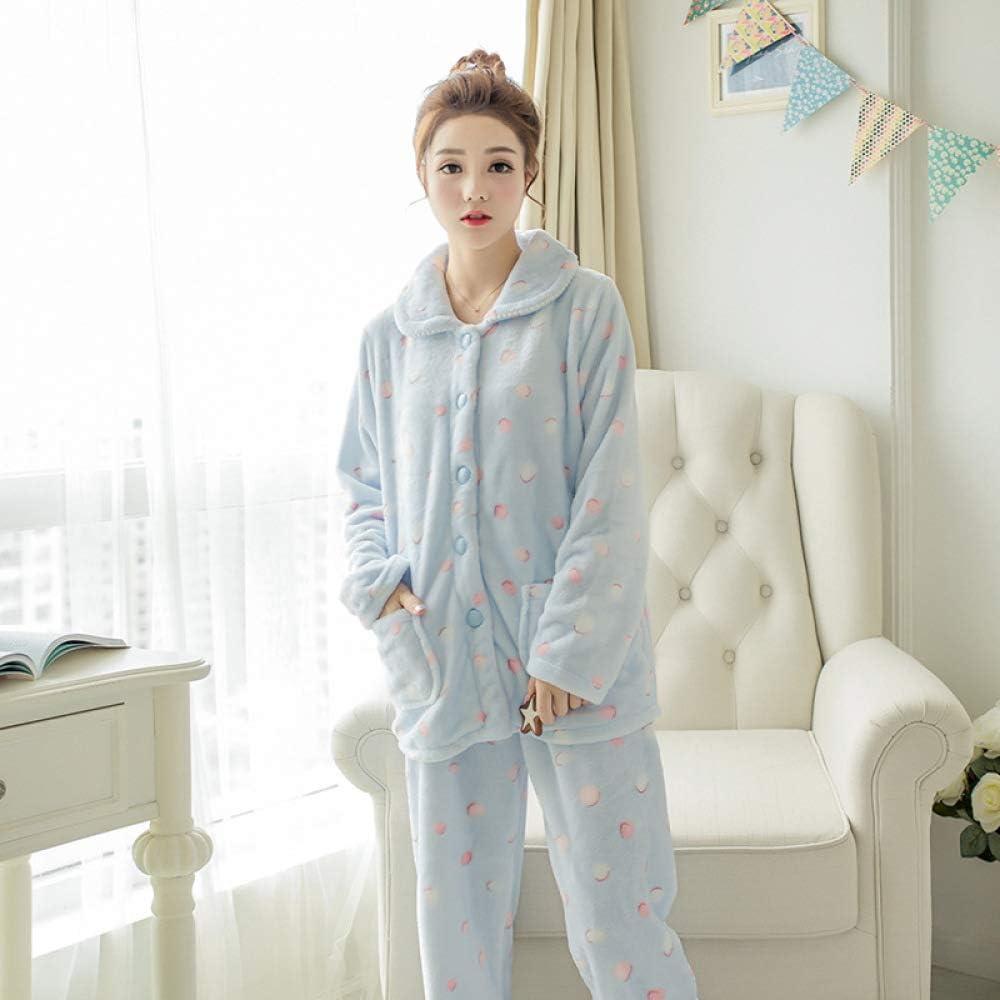 Pijamas Mujer Algodon Conjuntos Sexy e Elegante Manga Pantalon Largos, Suave Comodo y Agradable Conjunto de Pijama de Manga Larga otoño Invierno Moda Polka Dot Blue XL: Amazon.es: Ropa y accesorios