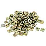 M6x10x3mm Yellow Zinc Plated Square Machine Screw Nuts Fastener 100pcs