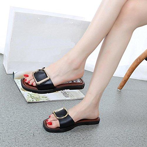 ❣JiaMeng Negro manera la de hebilla Zapatos mujer mujeres del sandalias de casuales la las cuadrada verano planas de qY6T1XEx
