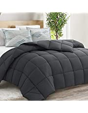 """EDILLY California King Ultra-Soft All Season Breathable Warmth Down Alternative Quilted Reversible Bedding Comforter, All Season Duvet Insert with Corner Tabs, (Dark Grey, 96""""x 104"""")"""