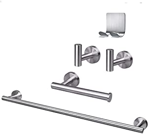 """TocTen Bathroom Hardware Set, Thicken 304Stainless Steel 5 Pieces Towel bar Set - Include 21"""" Towel Bar+Toilet Paper Holder+2 Robe Hooks Wall Mounted Bathroom Accessory Towel Rack set (Brushed Nickel)"""