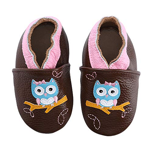 (Unicorn Baby Moccasins Girl and Boy Soft Leather Toddler First Walker Shoes 0-6-12-18-24 Months (12-18 Months M US Infant, Owl))