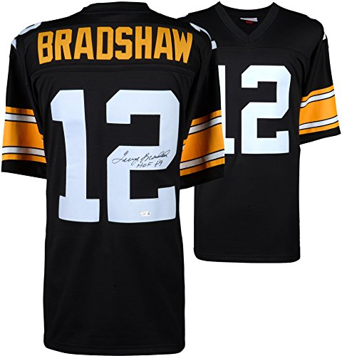 Terry Bradshaw Pittsburgh Steelers Autographed Mitchell & Ness Throwback Black Replica Jersey with