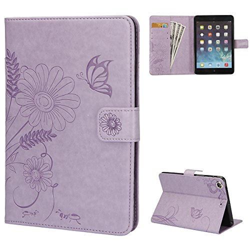 - iPad Mini 1/2/3 Case,PHEZEN [Pure Color Smart Case] Embossed Butterfly Flower PU Leather Flip Wallet Case Card Slot Case Magnetic Closure Stand Smart Cover for iPad Mini 1 /Mini 2 /Mini 3,Light Purple