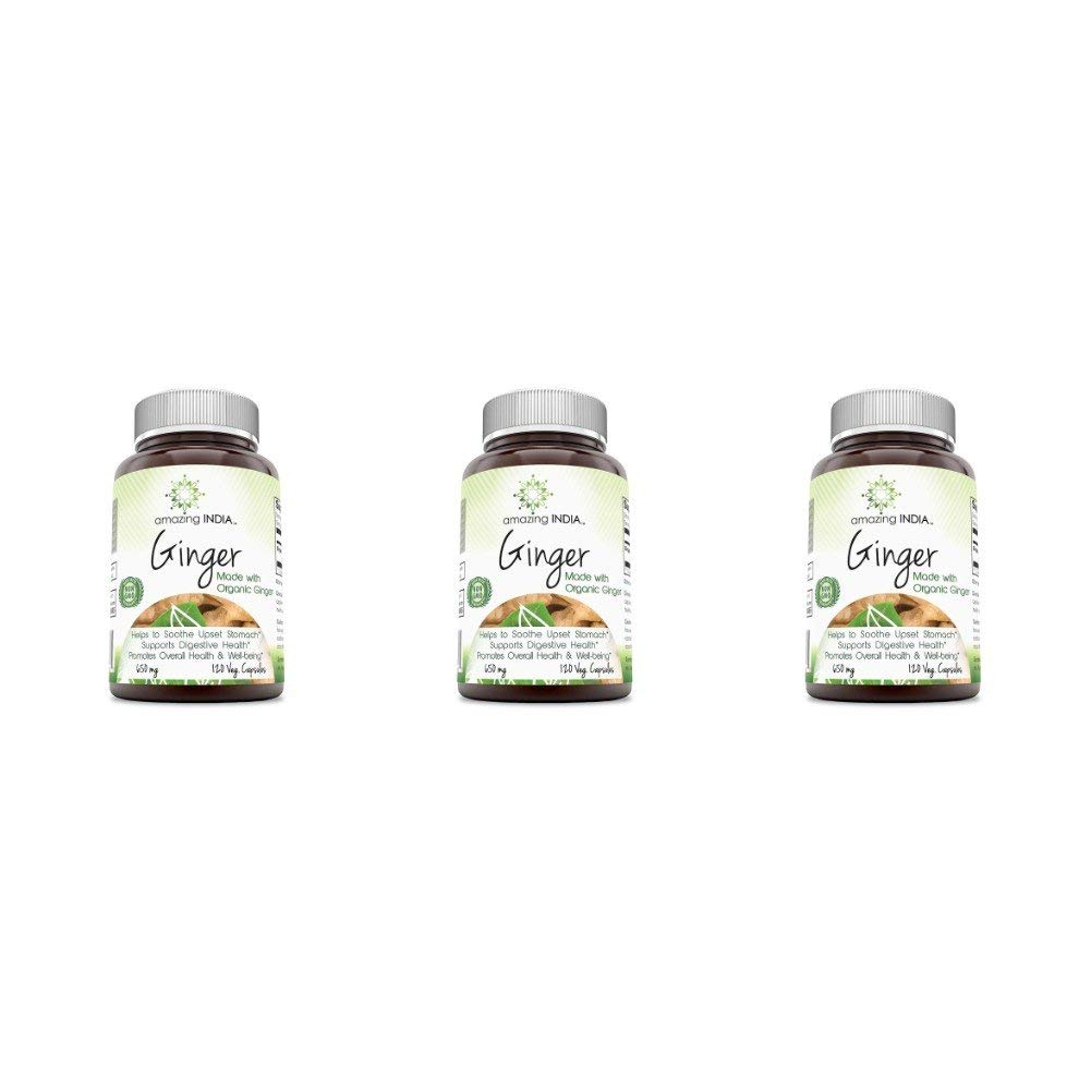 Amazing India Organic Ginger - 650mg- 120 Veg. Capsules? All-Natural Digestive Aid, Helps with Nausea and upset stomach, Promotes heart and Immune health (Pack of 3)